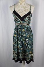 Donutz Inc. Womens Large Teal Blue Green Paisley Spaghetti Strap Tie Back Dress