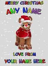 Rudolph Christmas Daddy Mum sister nan Card PIDS11 Greeting Card Personalised