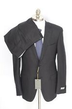 New CANALI 1934 Dark Charcoal Check Wool 2Btn Flat Front Suit 50 40 40L NWT $2K!