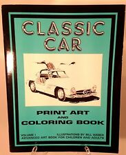 NEW Classic Car Print Art & Coloring Book for Children & Adults - Single or Bulk