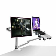Dual-arm Monitor Desk Mount & Laptop Holder Stand for both Grommet/edge install