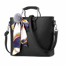 Hot Women Leather Handbag Lady Shoulder Purse Bucket Crossbody Bag Black