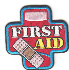 """FIRST AID"" -  IRON ON EMBROIDERED PATCH - Nurse, Profession, Medical, Medic"