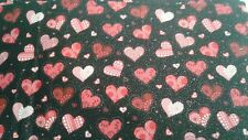 Valentines day hearts on black glitter valance 14x43