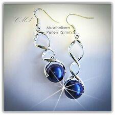 Perlenschmuck Ohrringe Ohrhänger MUSCHELKERN PERLEN  Kugeln 12 mm blau