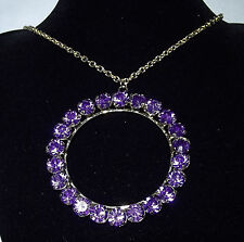 Purple jewel ring pendant with 36 inch gold colour necklace