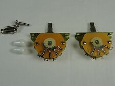 2 New Mighty Mite 5 Way switches for Fender Stratocaster Strat w/ White Tip