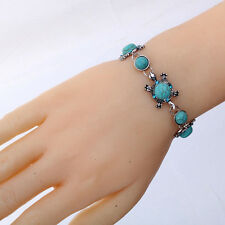 Tibetan Silver Round Turquoise Turtle Blue Crystal Chain Bangle Bracelet Jewelry