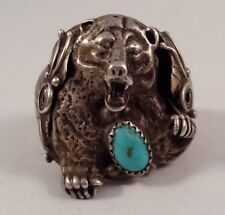 Vintage Native Indian Sterling Silver Turquoise Roaring Bear Ring Size 11