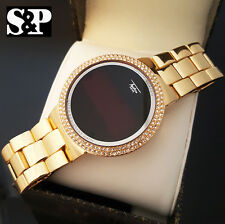 Hip Hop Iced Out Digital Touch Screen Gold Plated Lab Diamond Smart Metal Watch