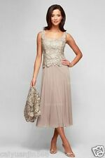 Square Tea-length Lace Mother of the Bride Dress With Jacket A line Champagne
