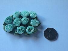 10 x Satin Ribbon Roses: Mint