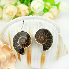 NEW ! Unique Natural Ammonite Fossil Gemstone Silver Earring 1 13/16 inch