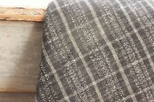 Fabric antique French material black gray plaid flannel brushed cotton  38X45
