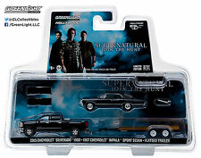 1:64 GreenLight *HITCH & TOW* SUPERNATURAL Silverado Impala & Car Trailer *NIP*