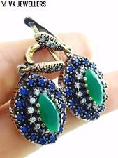 TURKISH HANDMADE 925 STERLING SILVER VICTORIAN JEWELRY EMERALD EARRINGS E1841