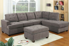 SALE! 3pc Modern Grey / Charcoal Reversible Sectional Sofa - w/ Ottoman