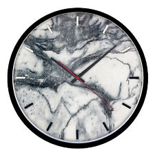Contemporary Wood Quartz Wall Clock With Black Wooden Frame Marble Effect 2126
