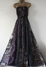 ᴥᴥSTUNNING MONSOON sz 16 GEISHA PURPLE BLACK GOLD SILVER MAXI DRESS BALL GOWN