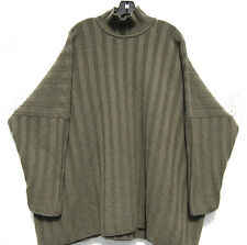 Eskandar OLIVE GREEN Handloomed Heavy Weight Cashmere Wide Ribbed Sweater $2690