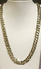"14kt solid Yellow gold handmade Curb Link mens Necklace 22"" 90 Grams 10 MM"