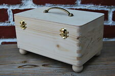 PLAIN WOOD WOODEN JEWELLERY BOX WHIT HANDLE FOR DECOUPAGE