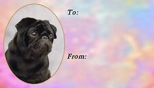 Pug (Black) Dog Self Adhesive Gift Labels designed by Starprint