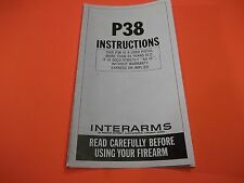 INTERARMS P38 PISTOL INSTRUCTIONS MANUAL - small but full of information on P38