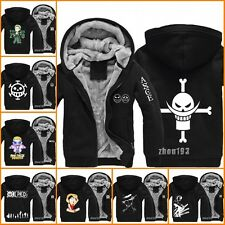 Anime One Piece Luffy Thicken Jacket Hooded Sweatshirt Hoodie Coat#N-K1