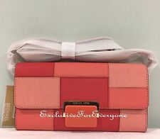 NWT Michael Kors Cynthia Large Clutch Saffiano Leather Pink/Grapfruit $218