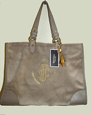 "new JUICY COUTURE ""NICCOLA TOTE"" beige velour hobo purse handbag + KEY FOB chain"