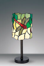 TIFFANY STYLE DRAGONFLY UNIQUE STAINED GLASS DESK TABLE LAMP - 6.29'' WIDE