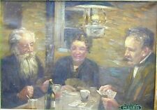 Fritz M Hildebrandt Card Players Oil on Canvas Painting