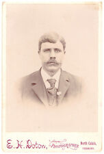 Handsome Young Man Fashion Suit. Mustache. Antique Cabinet Card. North Calis.