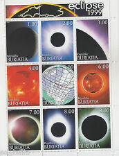 Buriatia Russian Local 1999 Lunar Eclipse Spce Astronomy  9v  MNH Sheet # 70298