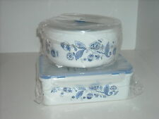 Set of 3 White & Blue Microwave Steamer Bowls & 3 Seal Storage Containers