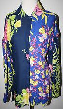 VERSACE Blue Navy Green Pink LS Floral Shirt Top Blouse Womens L XL