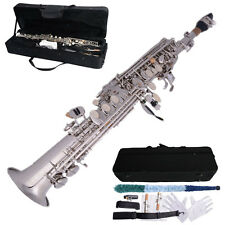 New Nickel-plated Silver Bb Soprano Straight Saxophone Brass  B Flat Sax