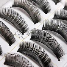 10 Paia Finte Ciglia Nero Lungo Folte False Eyelashes Trucco Makeup Cosmetici