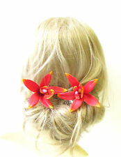 2 x Large Orange Red Orchid Flower Hair Pins Vtg Rockabilly Clip 1950s Big 1324