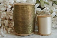 ANTIQUE VINTAGE FRENCH SPOOL GOLD METAL METALLIC EMBROIDERY THREAD TRIM LACE WRK