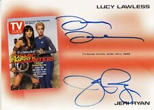 LUCY LAWLESS/JERI RYAN DUAL AUTOGRAPH CARD - TVA3 RITTENHOUSE TV GUIDE COVER