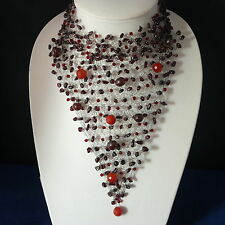 "Superb Garnet And Carnelian Gems With Crystal Choker Necklace 8""x 7""Inches Wide"