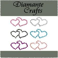 6 x 31mm Mixed Colour Diamante Double Hearts Rhinestone Vajazzle Body Art  Gems