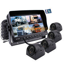 "9"" QUAD MONITOR WITH DVR 4 x SIDE CAMERAS SAFETY SYSTEM FOR TRUCK TRAILER RV"