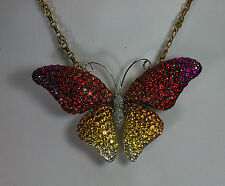 18K YELLOW GOLD MULTI SAPPHIRE RUBY DIAMOND TROPICAL BUTTERFLY PENDANT & BROOCH