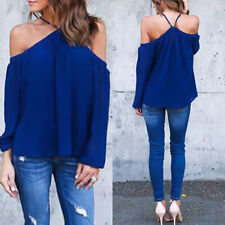 Women Summer Loose Casual Chiffon Off Shoulder Shirt Tops Blouse Ladies Top 6-14