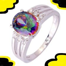 SIZE 7 1/4 LADIES RING +BOX rainbow haunted topaz silver witch FREE USA S&H 7.25