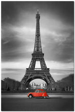 Effie Tower Cityscape Art Silk Poster in Black White 24x36 inch Red Car 001