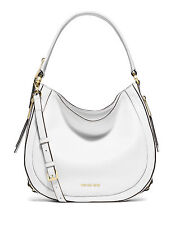 NWT Michael Kors Julia Pebble Leather Convertible Shoulder Tote Optic White $368